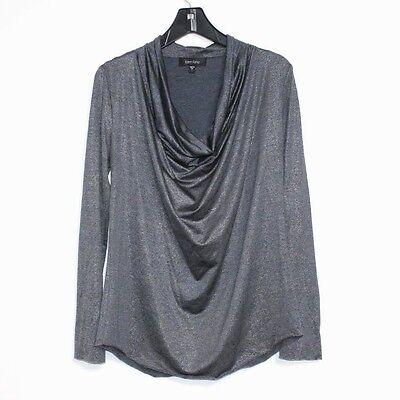 Karen Kane - L - Steel Gray Metallic Long Sleeve Draping Cowl Neck Knit Top