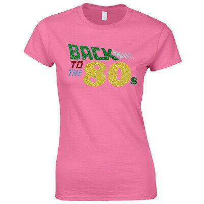Back To The 80s Ladies Fitted T-Shirt Women Fancy Dress Glitter Print Party - Glitter Womens Kostüm