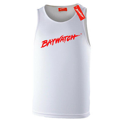 LICENSED BAYWATCH ® WHITE COOLTEX VEST - MENS LIFEGUARD MUSCLE BEACH PARTY - 007 Kostüm Party