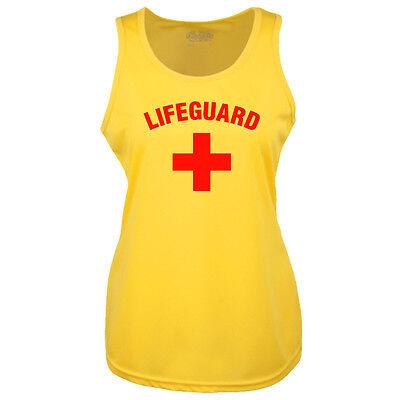 LADIES LIFEGUARD + YELLOW COOLTEX VEST TOP RACER BACK - BEACH PARTY FANCY DRESS