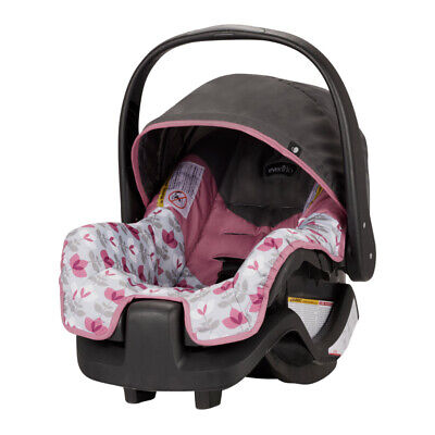 INFANT BABY CAR SEAT with Handle Pivoting Canopy Lightweight Pink Floral