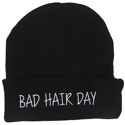 Bad Hair Day Embroidered Beanie - Funny Bed Head Joke Knit Unisex Fashion Hat](Funny Hair Hats)