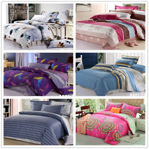 Striped-Quilt-Duvet-Cover-Set-New-100-Cotton-Double-Queen-King-Bed-Doona-Covers