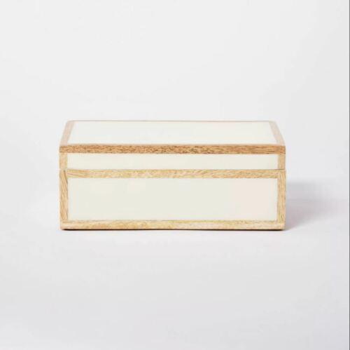 "Studio McGee x Threshold 8"" x 5"" Wood Edge Trim with Resin Inlay Decorative Box"