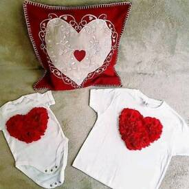 BRAND NEW Casual tshirt red heart 3D design 100% cotton SMALL size