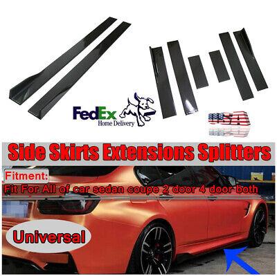 6PCS 2M Carbon Fiber Style Car Side Skirts Extensions Splitters Rocker Apron Lip