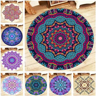 Indian Vintage Baroque Mandala Pattern Round Floor Mat Rug Living Room Area Rugs