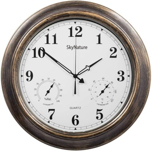 """Open Box SkyNature 18"""" Large Outdoor Clock, Waterproof w/ Thermometer Humidity"""