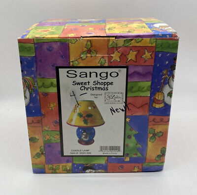 Sango Sweet Shoppe Christmas Ceramic Candle Lamp Sue Zipkin Vintage NIB