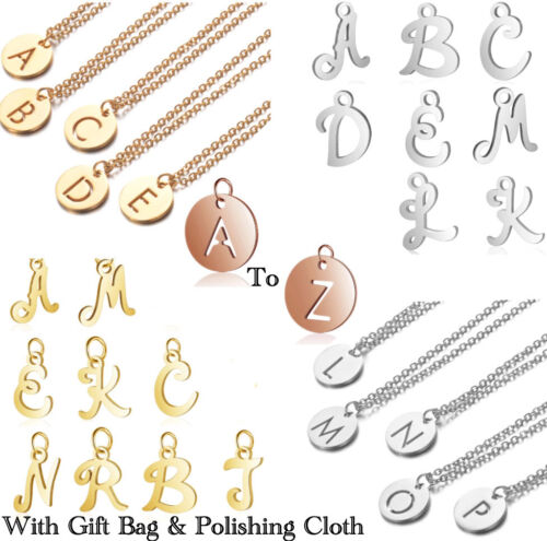 Jewellery - Initial Alphabet Pendant Necklace Chain Letter Gift Girls Womens Jewellery Name