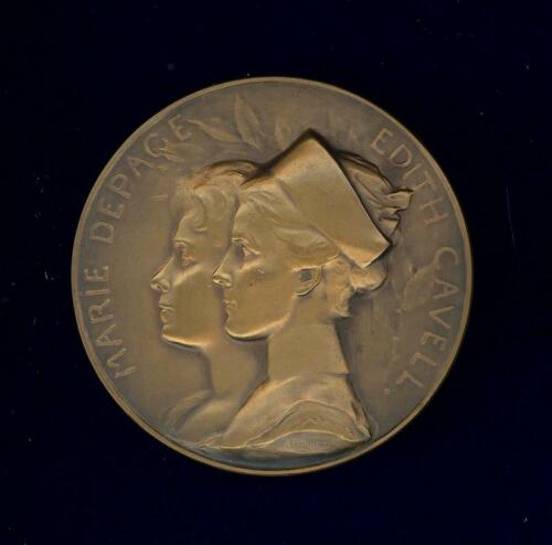 """Edith Cavell & Marie Depage martyrs medal """"1915 REMEMBER!"""" 60mm bronze.Date 1919"""