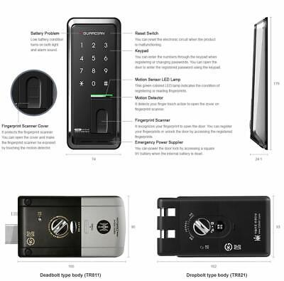 New H-gang SYNC TR812 Keyless Password Fingerprint Security Digital Door Lock