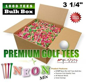 3-1-4-Golf-Tees-1000-Piece-Bulk-Box-Neon-Mix-PREMIUM-FIRST-QUALITY-TEES