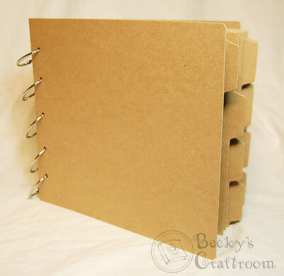 Tabbed Chipboard Album - Bare Chipboard 8x9 Tabbed Album 9-5/8