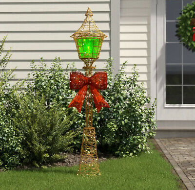 CHRISTMAS LAMP POST Outdoor Lighting Yard Decoration Red Bow with Lights