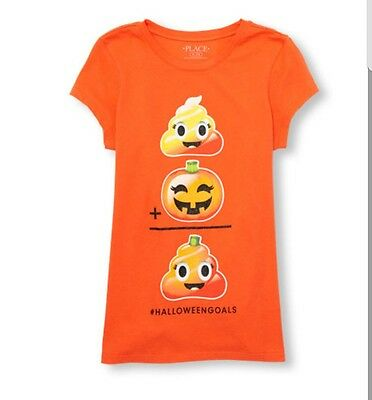 Girls Short Sleeve Glitter Halloween Goals Emoji Equation Graphic TeeSize 7/8](Glitter Graphics Halloween)