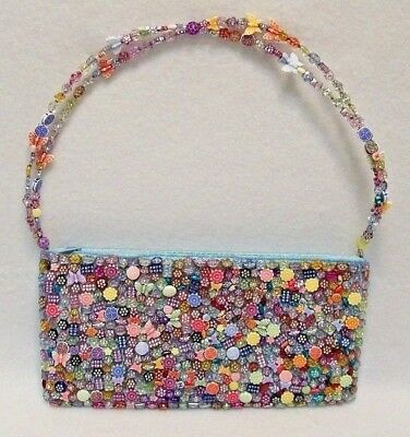 Vtg Sasha Hand Made Beaded Clutch Purse Bag Handle Butterfly Flowers Blue Satin Flower Beaded Satin Clutch
