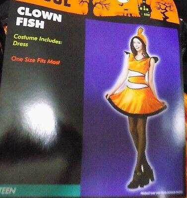 NEW Clown Fish Nemo Hooded Dress Costume Girl Teen Junior One Size NWT FREESHIP (Teen Clown Costumes)