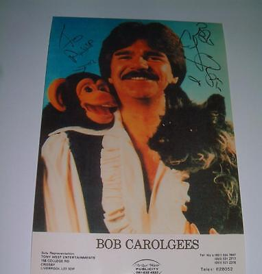 BOB CAROLGEES SIGNED REPRINT WITH SPIT THE DOG + CHARLIE THE MONKEY PHOTOGRAPH