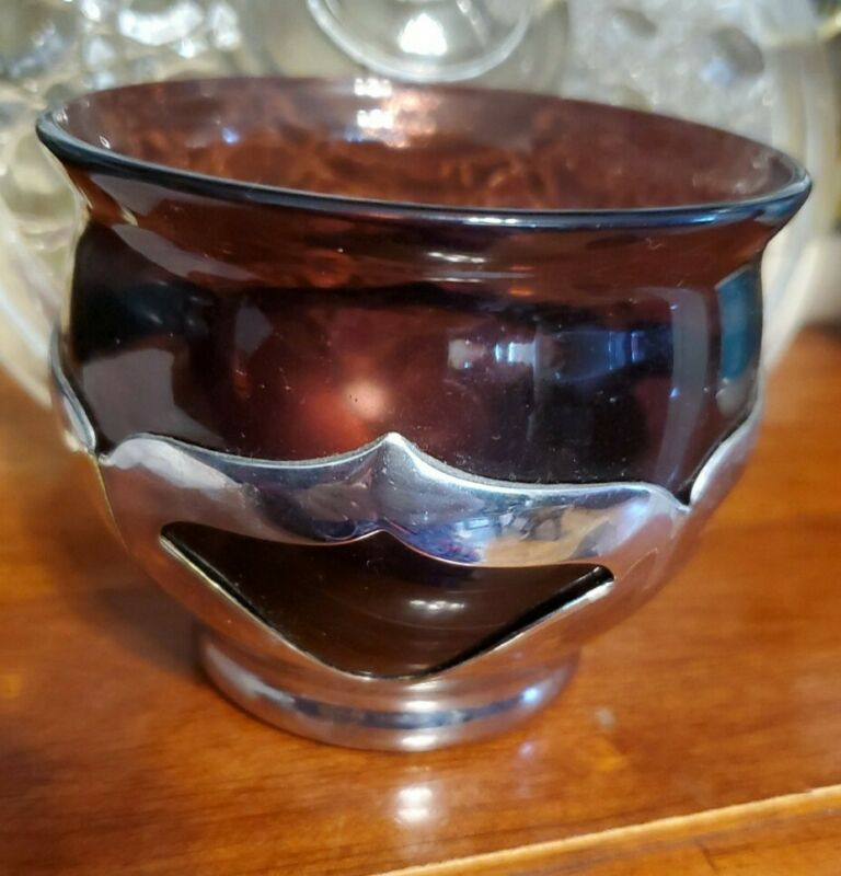 FARBER BROS Art Deco Chrome Amethyst colored Bowl vintage