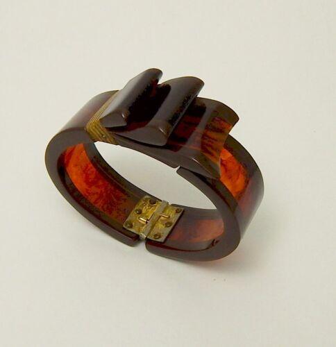Bakelite Hinged Ribbon Bow Clamper Bracelet Root Beer Tortoise Shell Free Ship
