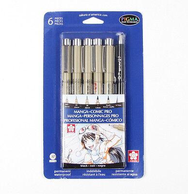 Sakura Manga Comic Pro Pigma Fine Line Archival Black 6 Pen Set Waterproof 50201