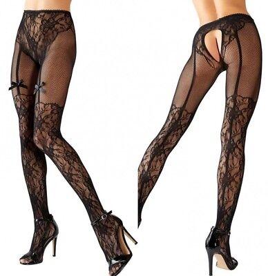 Collant calze donna sexy nero fantasia rete fiori aperto finto reggicalze fiocco