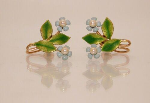 Vintage Signed Krementz Enameled Flower & Pearls Screw Back Earrings