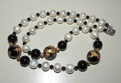 PEARL NECKLACE FW Cultured 4-11mm w/Dragon Carved Black Onyx Beads .925 (Black Cultured Fw Pearl Necklace)
