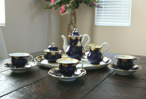 Antique Meissen 10 PC COBALT COFFEE SET with SERVING TRAY Gold Leaf Design 1800s