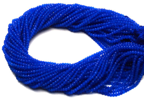 """Natural Gem Blue Chalcedony Micro Faceted 3MM Rondelle Beads Strand 13"""""""