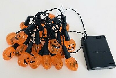 Jack O Lantern Pumpkin String Lights Halloween Light Up Battery Powered New (Jack O Lantern Lights)