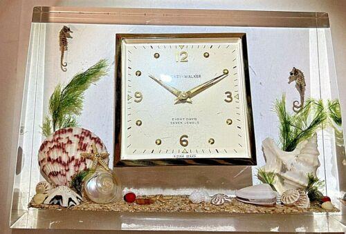 Mid Century Modern Clearfloat 1950s Lucite Phinney-Walker Alarm Clock, Works!