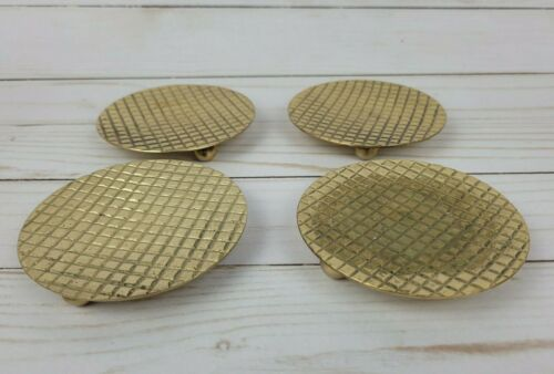 """Lot of 4 Brass Candle Plate Candle Holder Jewelry Storage Tray 3.5"""""""