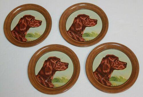 Vintage Set 4 Tin Litho Ole Larsen Hunting Dog Drink Coasters Irish Setters