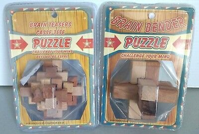 Brain Bender Brain Teasers Wood Puzzles Lot of 2 Age 6 and Up mind challenge