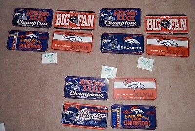 Denver Broncos Memorabilia Lot License plate lots new vtg Super Bowl XXXII