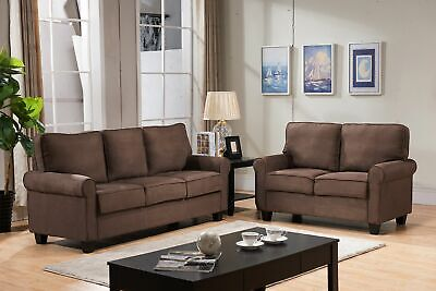 Kings Brand Furniture - 2 Piece Sofa & Loveseat Living Room Set, Chocolate