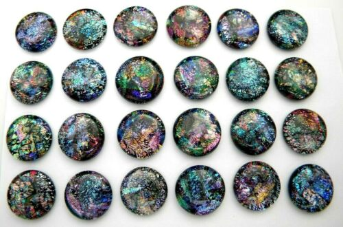 GALAXY STYLE Lot 24 pcs round DICHROIC earrings pendants FUSED GLASS (C14) CABS