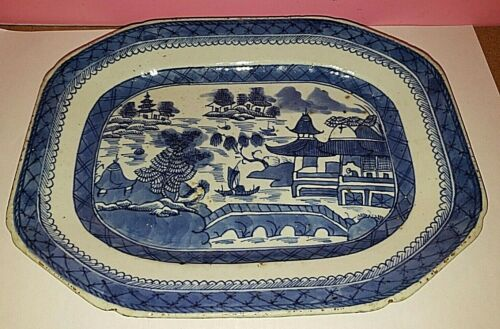 Antique 1800s  Blue and White designed Meat Platter in good shape