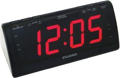 Dual Alarm Clock by SYLVANIA with Jumbo LED Digits AM/FM Radio NEW