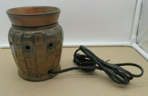 Scentsy Strata Brown Inlaid Bricks Burnt Umber Barrel Full Size Warmer Burner