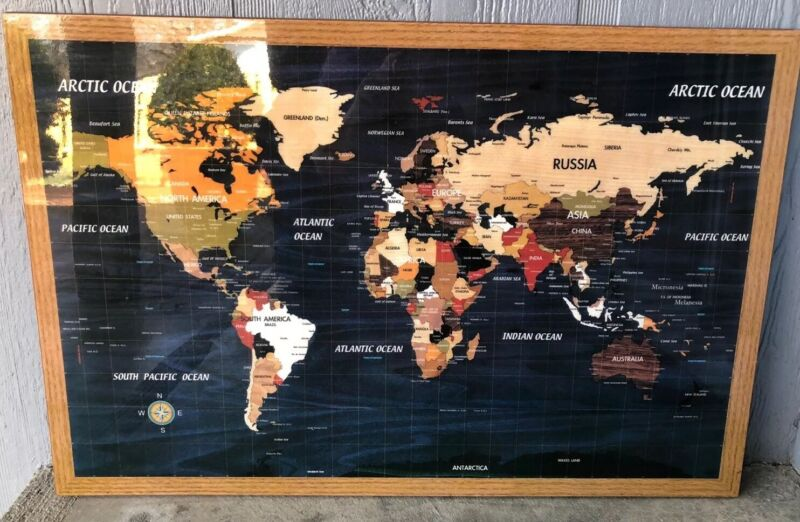 """RARE Exotic 28"""" Inlaid Wood World Map Wall Art Atlas Marquetry Parquetry"""