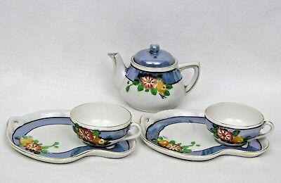 Lusterware Porcelain Tea Set Snack Plate Set  - Childs - Gold Trim - EXCELLENT