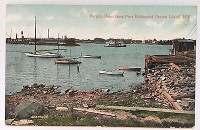 1909 NY Postcard Bergen Point from Port Richmond Staten Island waterfront boats