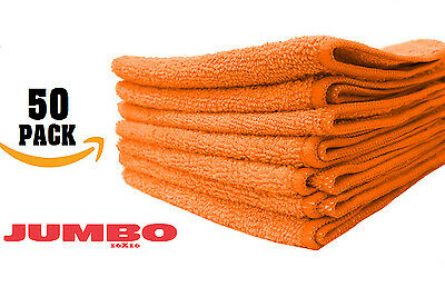 50 LARGE ORANGE Microfiber cleaning Cloths Towels Rag Car Polishing Detailing