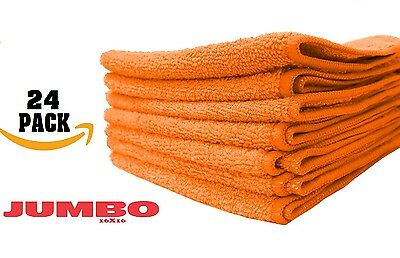 24 large orange microfiber cleaning cloths towels rag car polishing detailing