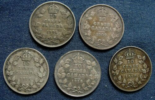 """(5) 1906-1918 Canada Silver Dime 10 Cent 1906, 1909, 1915, 1917, 1918 """"NICE LOT"""""""