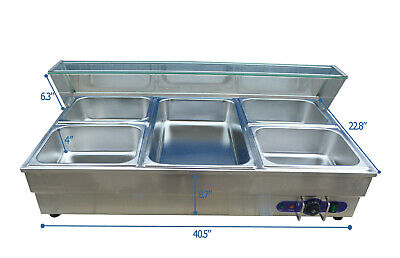 5-pot Commercial Bain-marie Buffet Food Warmer 1 Full Size Pan And 412pan