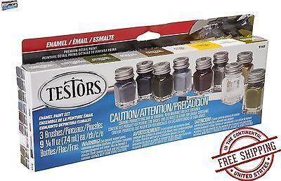 Testors Promotional Enamel Paint Set Color Kit Model Brush Metal Art Tray Draw